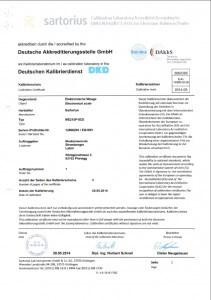 DAkkS Kalibrierschein Laborwaage ME215P-0CE